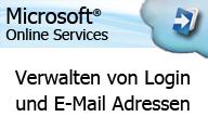 Microsoft Online Services Administration verwalten von Login und Emailadressen